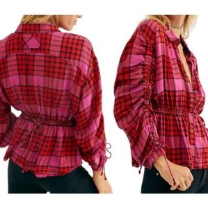 Free People Pacific Dawn Red Pink Black Plaid NWT